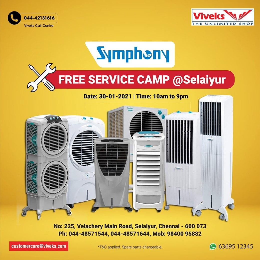 Viveks+Symphony is organising a FREE Service Camp @ Selaiyur on 30th Jan. Bring your air coolers & fans and we will service it absolutely FREE of cost. கோடை காலத்திற்கு முன் இந்த அற்புதமான தருணத்தை miss செய்யாதீர்கள். #viveks #nammaviveks #aircooler #fans #summer #symphony
