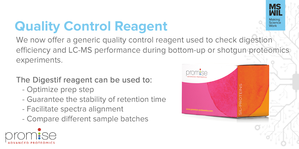 [SAMPLE PREP]  Promise Proteomics Digestif is an easy solution to Quality Control your Tryptic Digestion, Retention time and Fragmentation efficiency.  For more information about this new product visit:   #MassSpec #Science #Proteomics #SamplePrep #MSWil