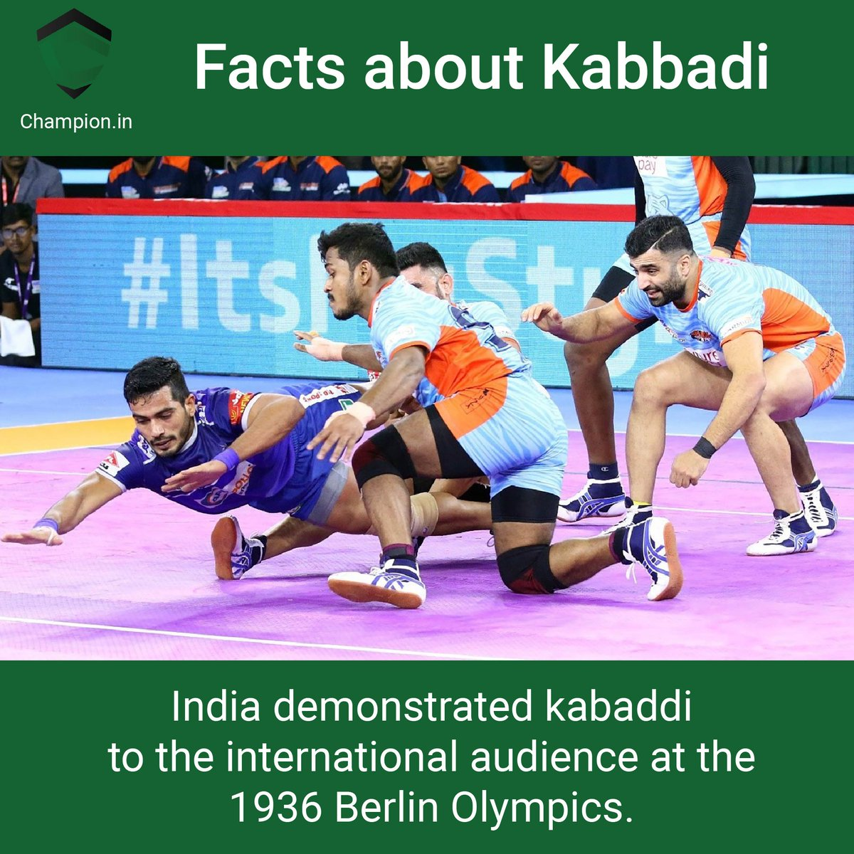 Until 1936, Kabaddi was known only to to Asian countries and the Indian subcontinent. #championsleague #champion #empower #sports #indiansports #sportsperson #sportsmanspirit #kabaddi #facts #demonstrated #international #audience #olympics #games #ancient #health