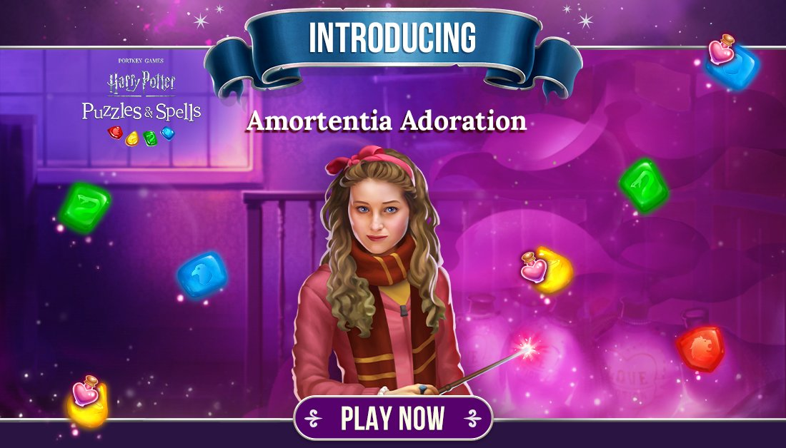 "Lavender Brown reminds us that love is in the air, ""Where is my Won-Won""? Participate in #AmortentiaAdoration by collecting Love Potions on gems in Player Journey puzzles.  Play NOW ➡️   #HarryPotterPuzzlesAndSpells #LovePotion #ValentinesDay #LavenderBrown"