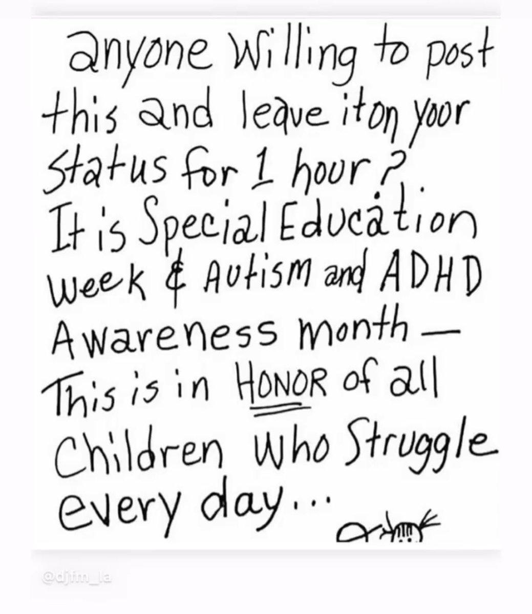 Replying to @teeco71: #SpecialEducationWeek #autismawareness #adhdawareness