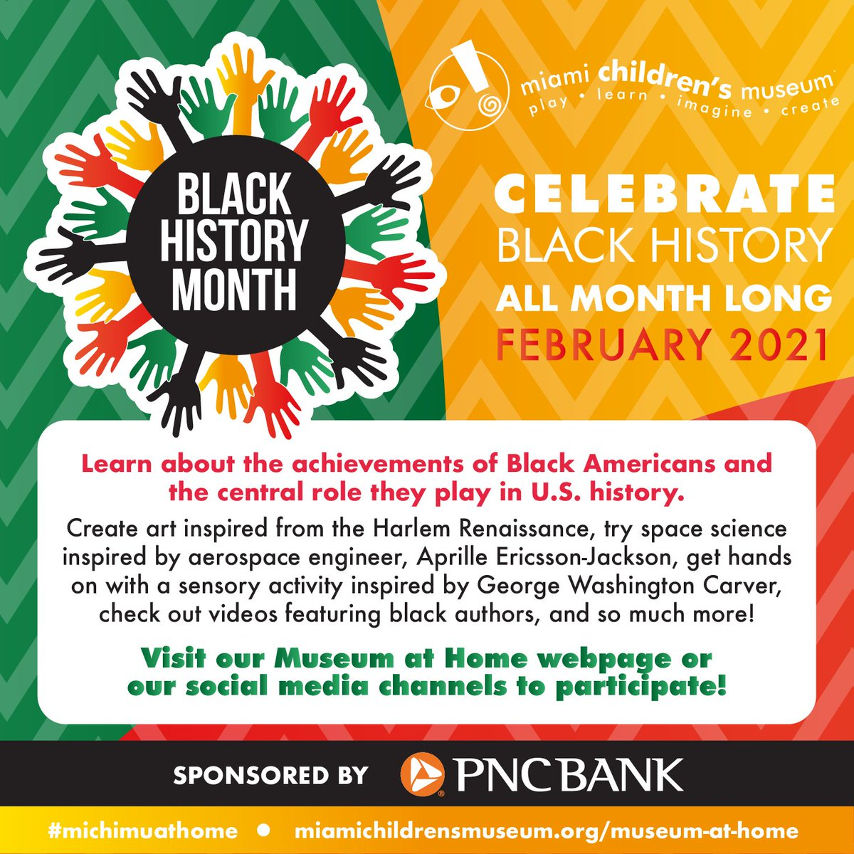 Thank you @PNCBank for sponsoring #BlackHistoryMonth   Follow us on social or visit our #michimuathome page for #free programming all month long: https://t.co/Cyg0j9Y8T7  #ThankfulThursday https://t.co/H6K8TTboFo
