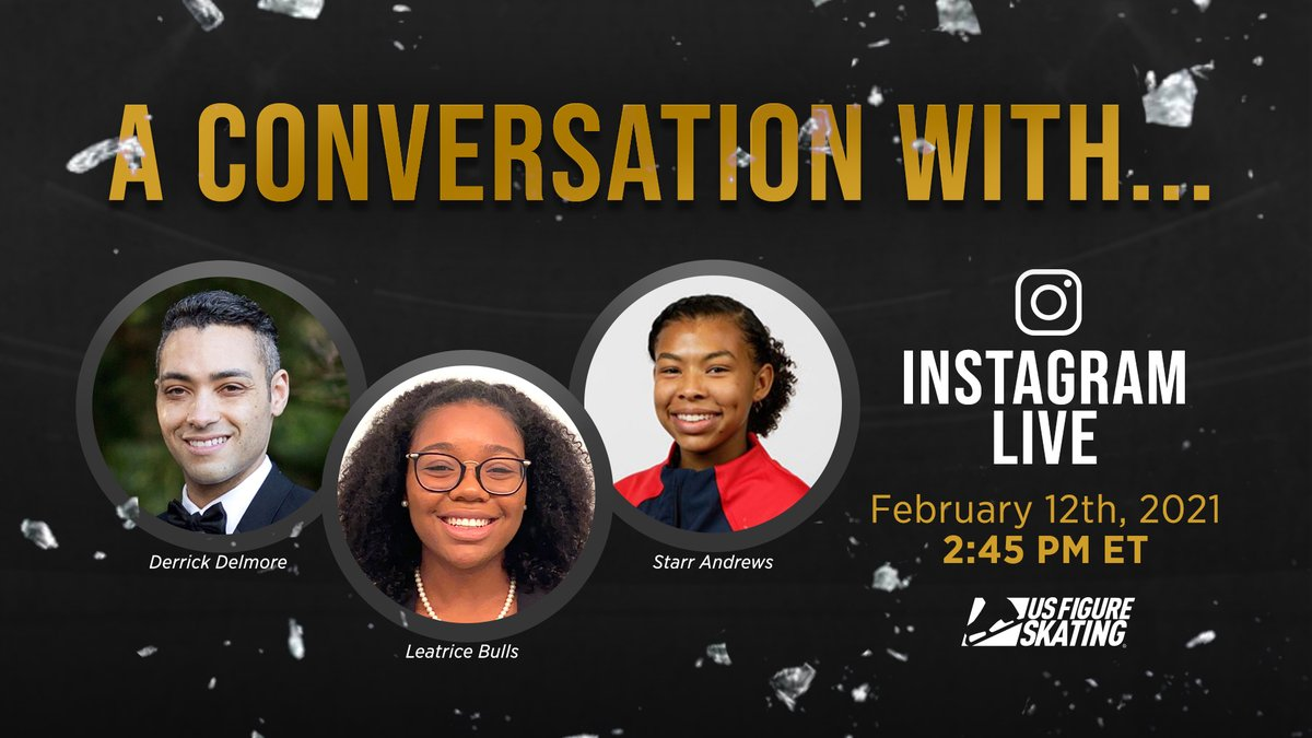 Join us tomorrow for a conversation with @Skating_Starr, Derrick Delmore and Leatrice Bulls at 2:45 PM ET❗ Over on our Instagram ➡ usfigu.re/3mt0a2t #BlackHistoryMonth