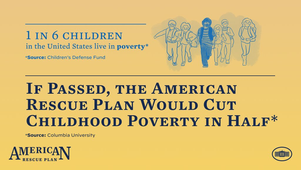 No child should grow up in poverty. The American Rescue Plan will expand the child tax credit and cut the child poverty rate in half.