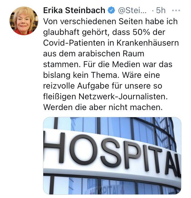 Es gibt widerliche Tweets, es gibt ekelerregende Tweets und es gibt Tweets von Erika #Steinbach.  Sie ist Teil einer fauligen Lügenmarinade, die unsere Gesellschaft vergiften will. #Corona #noAfD