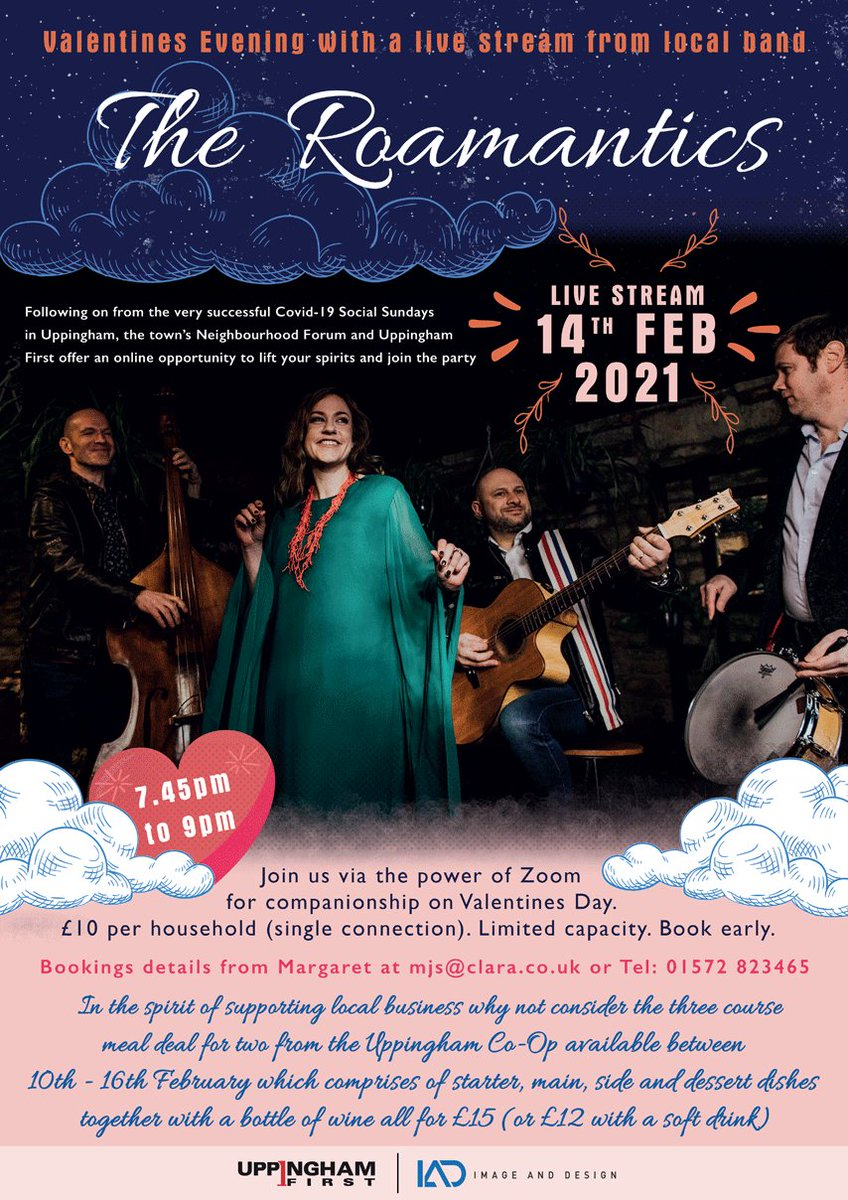 Join with neighbours and friends to lift the lockdown gloom on Valentines Night Feb 14th and enjoy the Roamantics via Zoom. A great local band. Tickets £10 a connection. Full details from mjs@clara.co.uk Host is Janet Thompson, Chair of Uppingham Neighbourhood Forum.