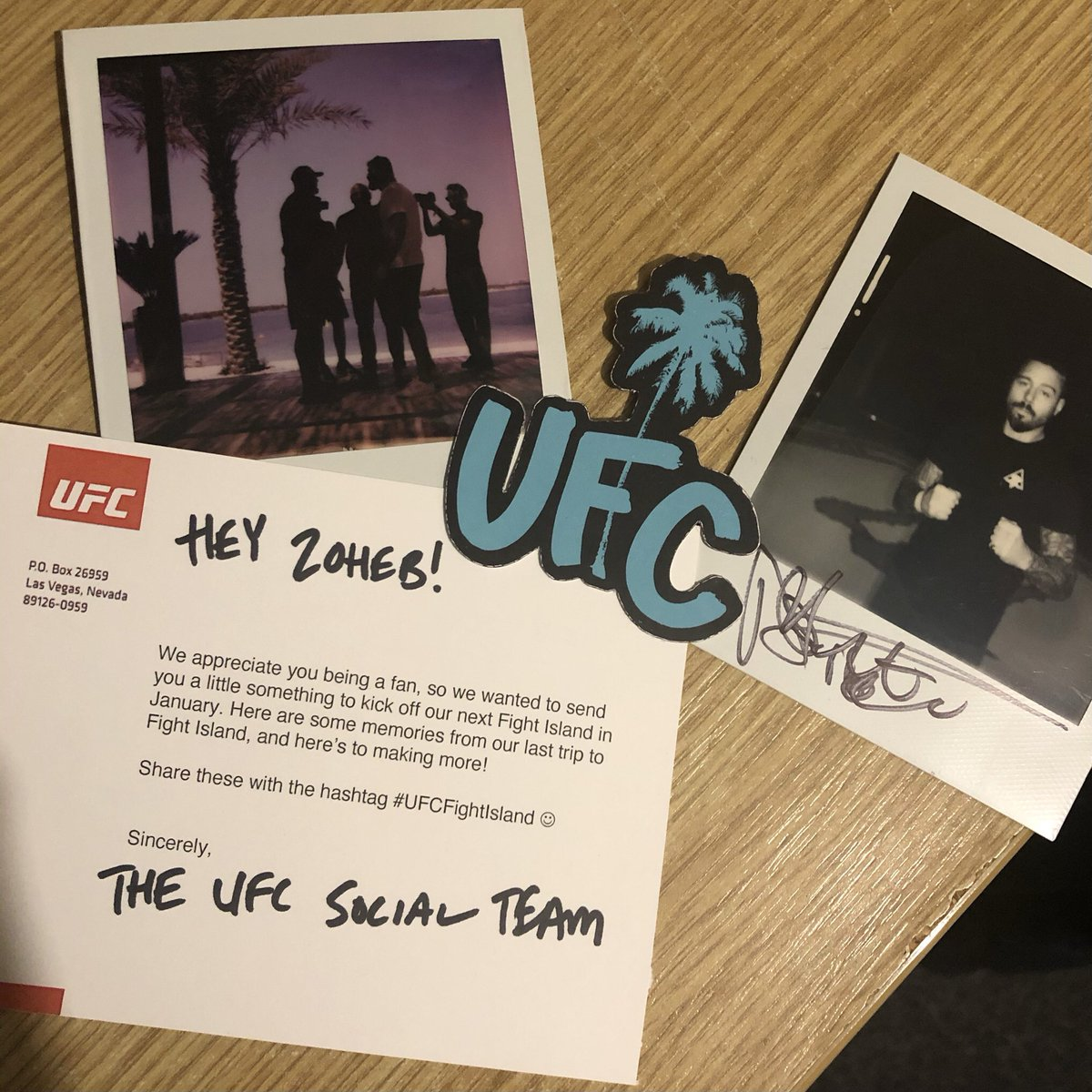 After a long time, I finally received the gifts that the @UFC had sent me!   Two Polaroids; one of @DomReyes & @JanBlachowicz facing off and one signed by @DanHardyMMA. They also included a small #UFCFightIsland logo and a postcard from the social team! https://t.co/nNfH8KEJfs