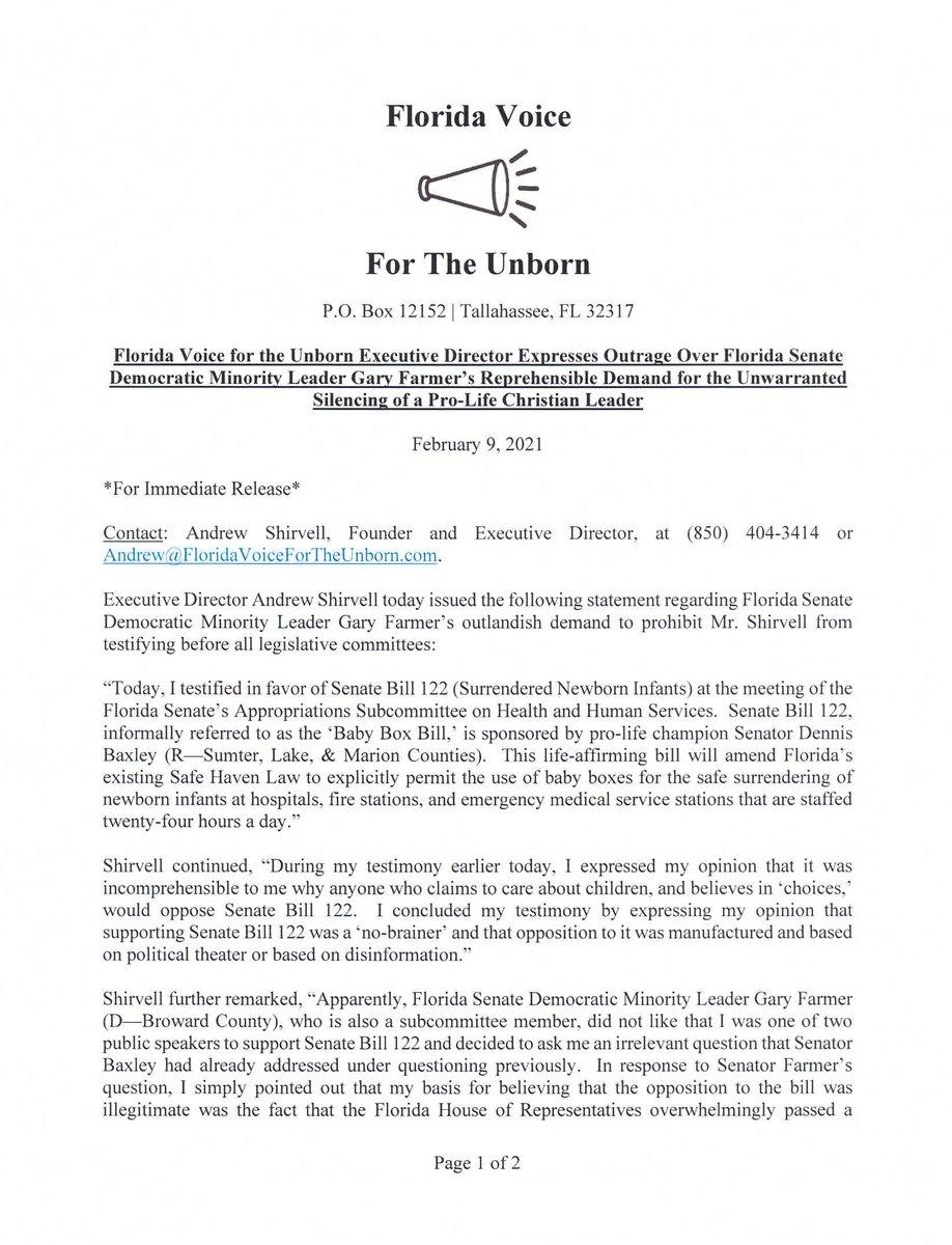 "2-9-2021 PRESS RELEASE: ""#FloridaVoiceForTheUnborn Executive Director Expresses Outrage Over #Florida Senate Democratic Minority Leader @FarmerForFLSen's Reprehensible Demand for the Unwarranted Silencing of a #ProLife #Christian Leader.""   #FlaPol #Sayfie"