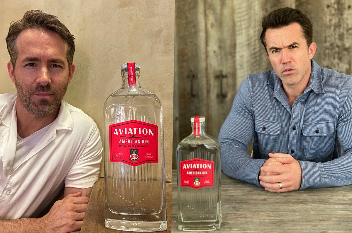 The @Wrexham_AFC handover is complete! We're toasting with a limited-edition bottle of @AviationGin and I am rebranding as Wrob. Both of which I am apparently legally obligated to do as I've been informed Ryan now owns my life rights. My lawyer is currently looking into it.