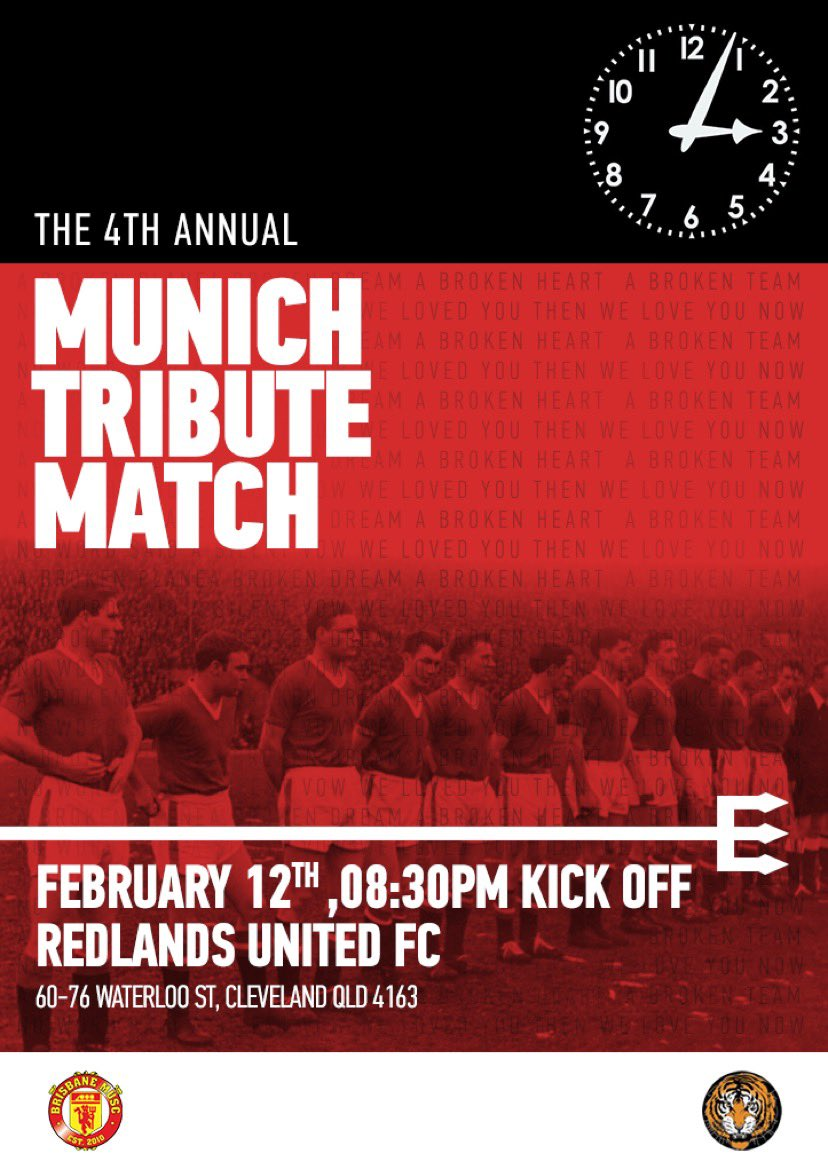 One of the proudest things our supporters clubs does is honour the legends who fell at Munich. We play for them this Friday at Redlands FC. Forever in our hearts. The flowers of Manchester. #MUFC #Busbybabes #BrisbaneReds #FlowersOfManchester #Busby #Munich