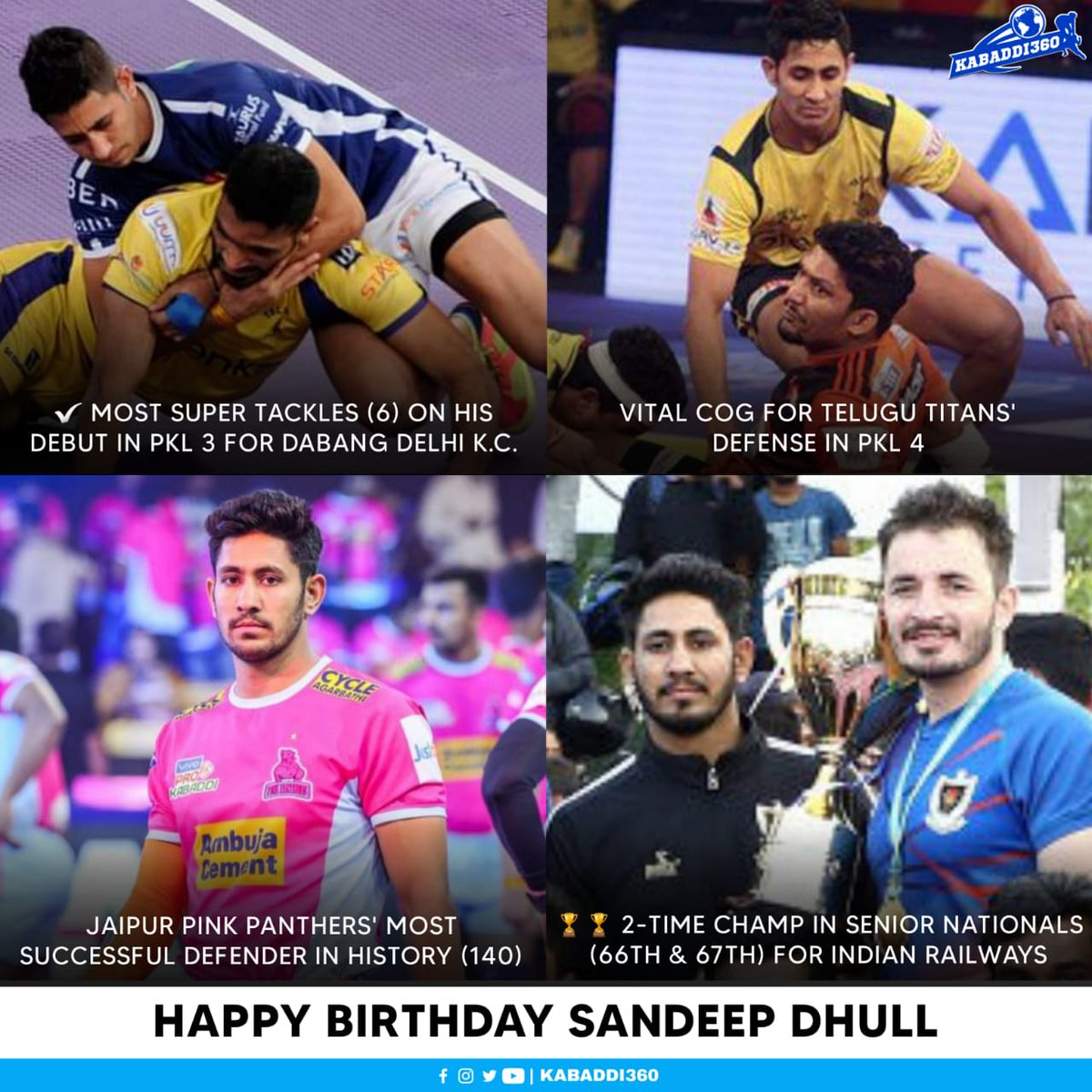 Wishing one of the thrilling left corner defenders in PKL today, happy birthday Sandeep Dhull 🎂  #SandeepDhull #HappyBirthday #Kabaddi360