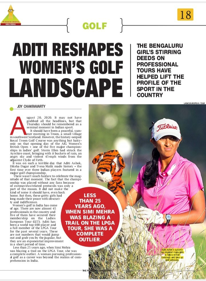 Indian women's golf is shining like never before. Here is @TheJoyofGolf on how @aditigolf @DikshaDagar and #TvesaMalik have reshaped the women's golf landscape in our latest edition of #ThePlayfield.  #golf You can also subscribe us on #Kindle and #Amazon  @AshtagSport
