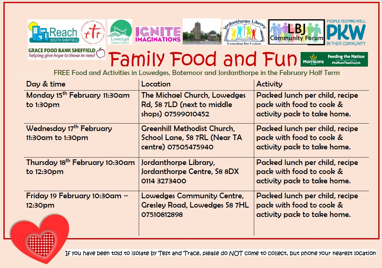 Information about Healthy Holidays. This poster has details about various dates, times and places to pick up a pack for family food and fun during the February half term. If you are unable to read the poster please tweet us and we will respond to you with the details.