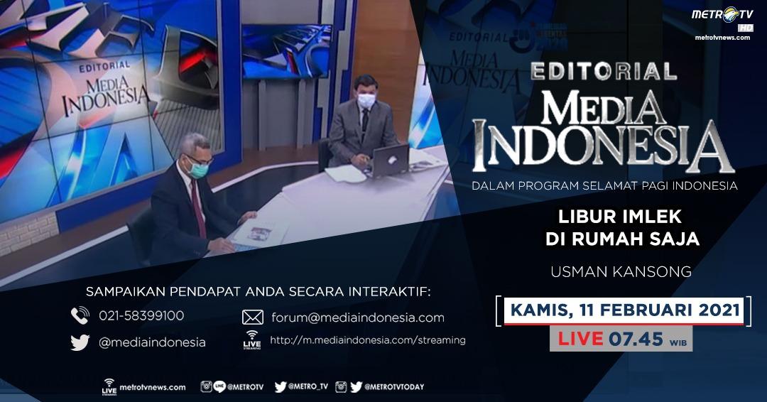 #EditorialMediaIndonesia hari Kamis (11/2) LIVE pukul 07.45 WIB dalam program #SPIMetroTV akan membahas soal pencegahan libur panjang imlek yang bisa menjadi media penularan COVID-19, bersama pembedah Usman Kansong di @metrotv.  #imlekmetrotv #metrotv #mediaindonesia