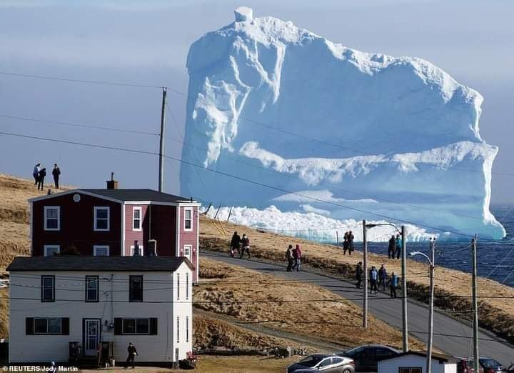 Good Morning...the wonders in our world! 150 ft. Iceberg passing through Iceberg Alley near Ferryland, Newfoundland, Canada 🇨🇦