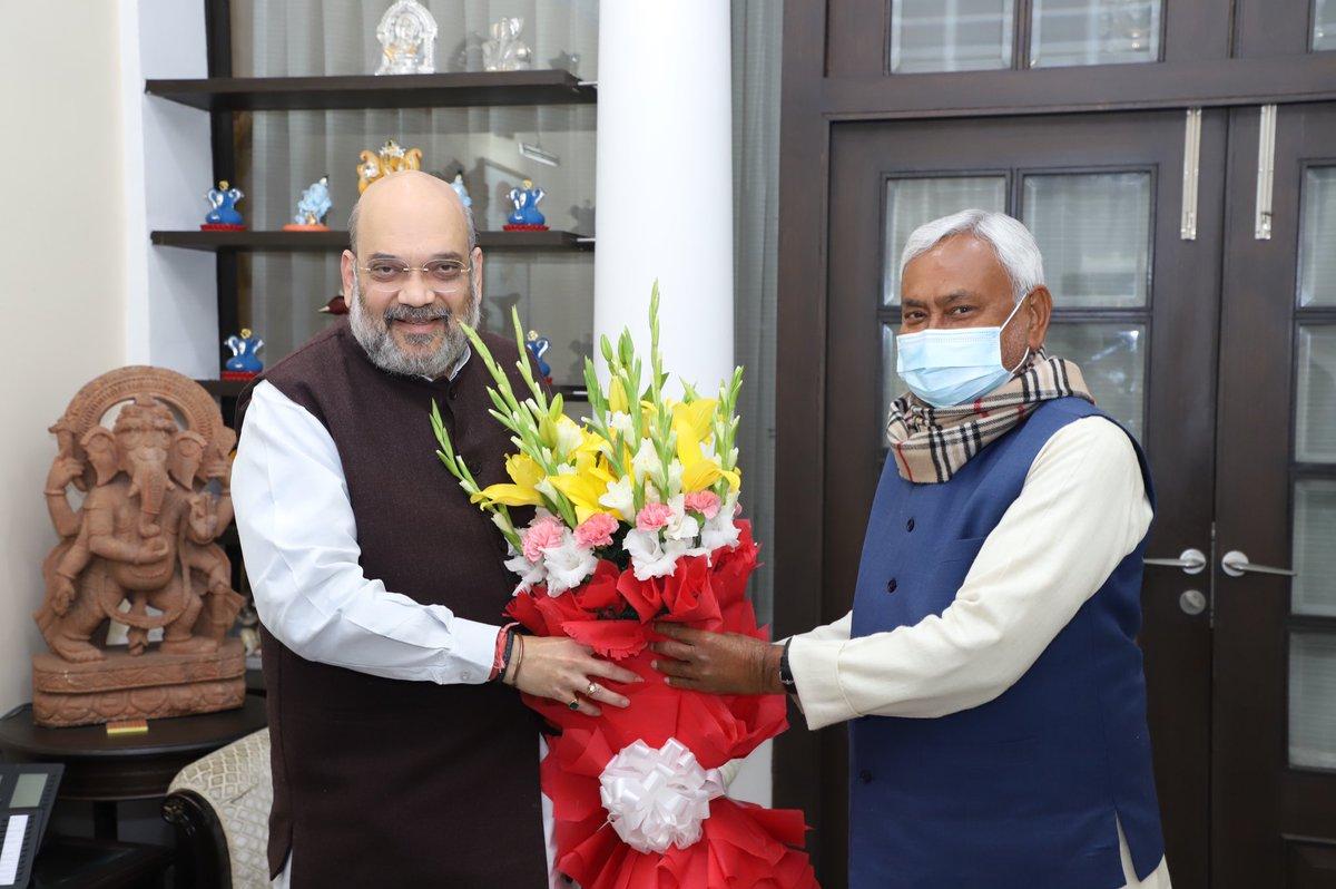 Chief Minister of Bihar, Shri @NitishKumar met Union Home Minister Shri @AmitShah.