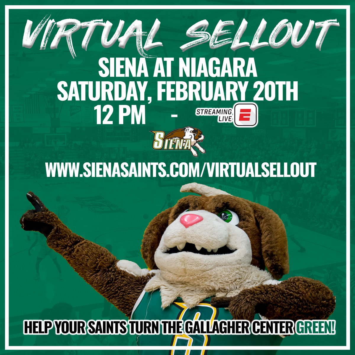 𝐃𝐎𝐍𝐓 𝐅𝐎𝐑𝐆𝐄𝐓❗️ Support @SienaMBB and help them turn the Gallagher Center 𝐆𝐑𝐄𝐄𝐍🟩 as they look to 𝕧𝕚𝕣𝕥𝕦𝕒𝕝𝕝𝕪 sell out their Feb. 20 matchup at Niagara Supporters will receive a commemorative 🎟️ and other special 🎁❗️ 🎟️ bit.ly/3sxK4aX #MarchOn