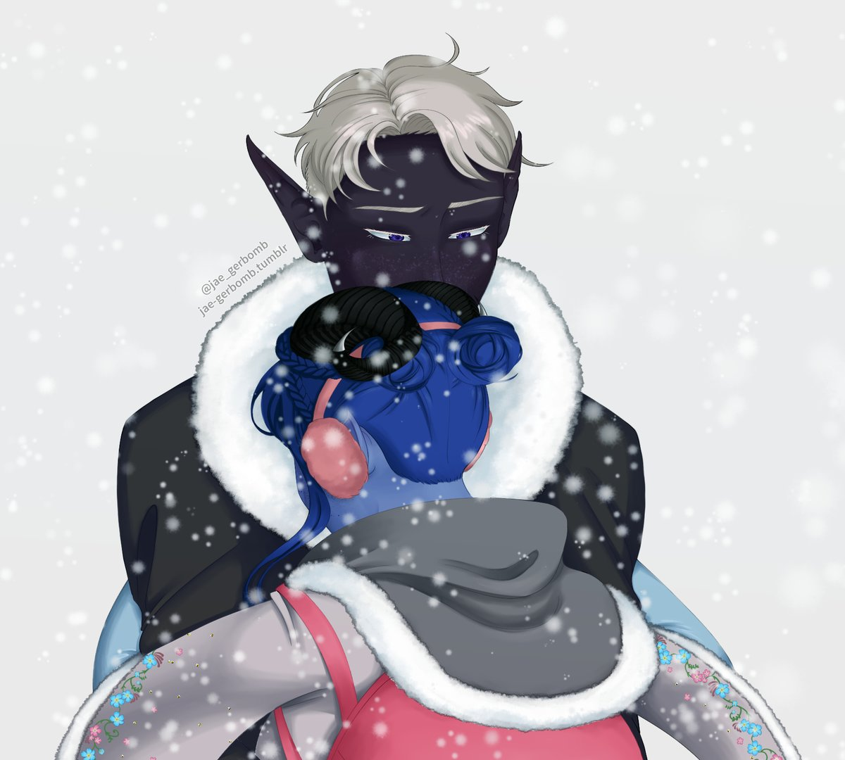 oh to be hugged by your friend Jester Lavorre 🥺💜💙 #CriticalRole #CriticalRoleFanart