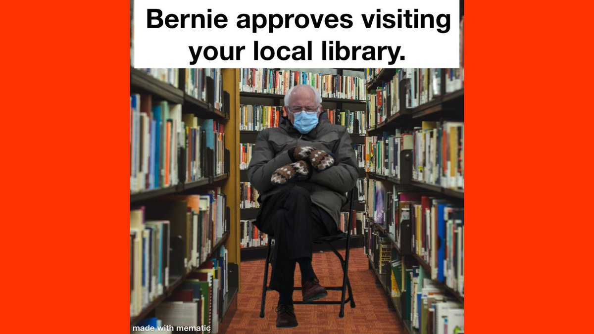 We didn't receive any caption entries for this week's Meme Monday, but we hope you'll enjoy this meme from staff and join in next time!  #rcls #mememonday #librarianhumor #berniesanders #berniememe #BernieMemes2021 #berniememes🤣 #berniememesmittens #libraryreopening #reopening
