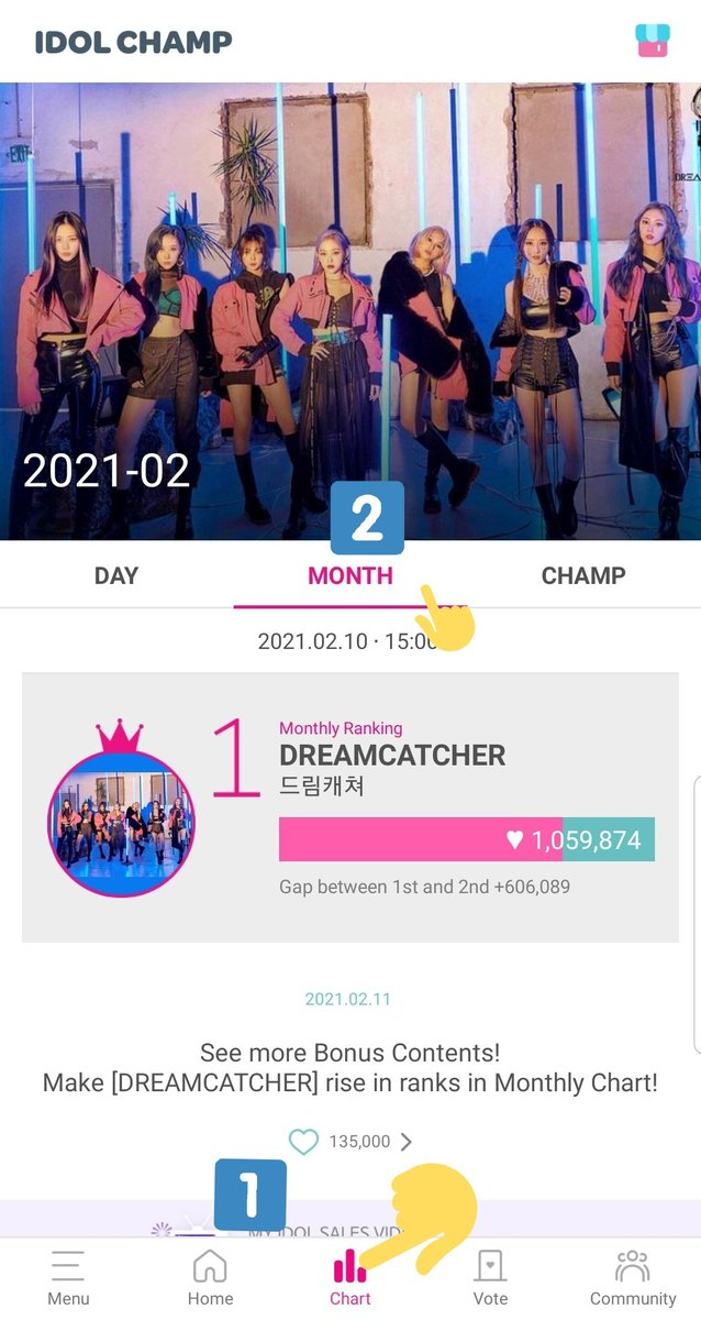 IC fails to prominently state that adding to the daily chart has NO DIRECT BENEFIT to the artist unless the artist ranks 1st place for the month  (Feb 2021 is the first time #Dreamcatcher has a chance to place 1st)  To check monthly progress: > Chart tab > Month