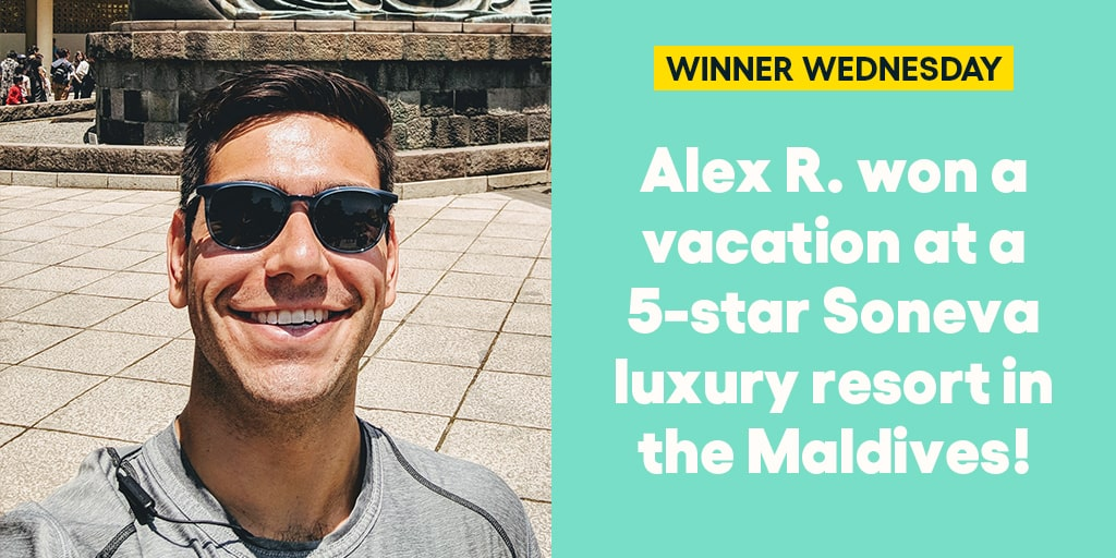 Alex R. won a vacation at a 5-star Soneva luxury resort in the Maldives! #omaze #omazewinners #omazetravels #winnerwednesday