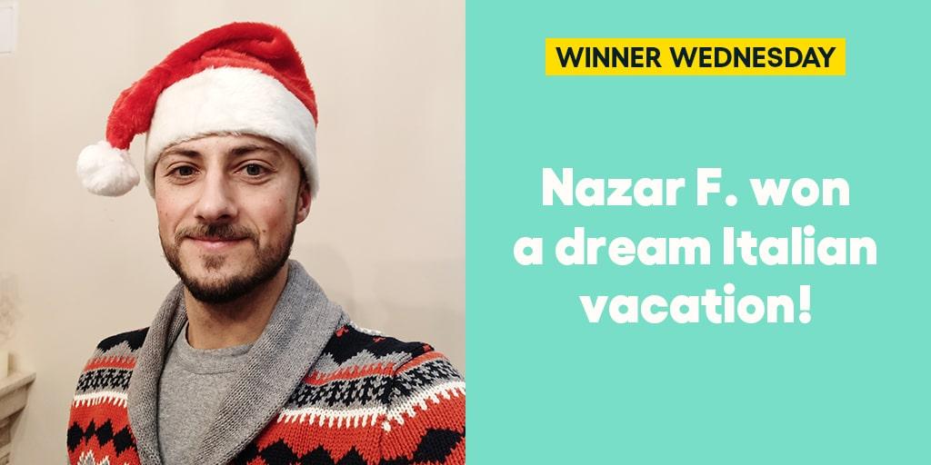 Nazar F. won a dream Italian vacation! #omaze #omazewinners #omazetravels #winnerwednesday