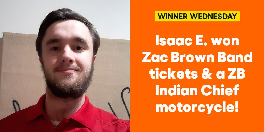 Isaac E. won @zacbrownband tickets & a ZB Indian Chief motorcycle! #omaze #omazewinners #winnerwednesday