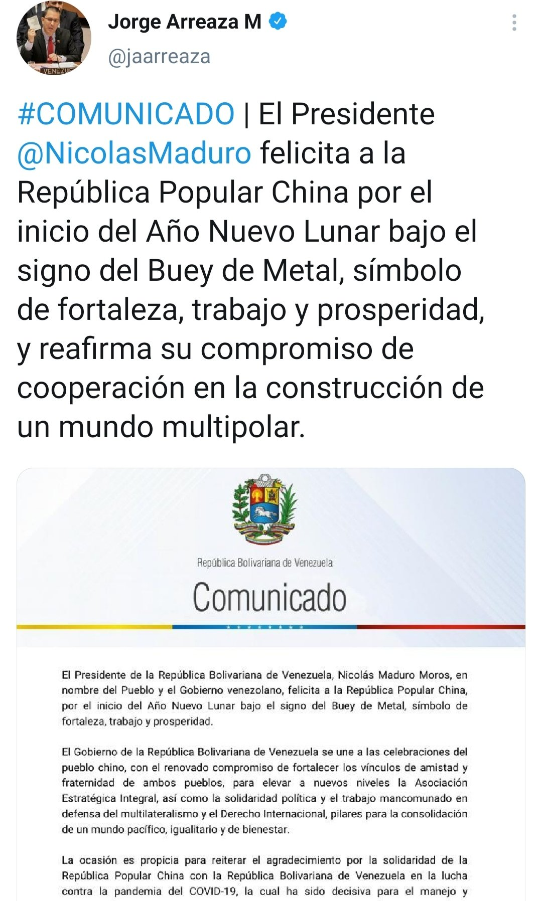 Cancillería Venezuela On Twitter Communiqué Pres Nicolasmaduro Congratulates The People S Republic Of China On The Beginning Of The Lunar New Year Under The Sign Of The Metal Ox A Symbol
