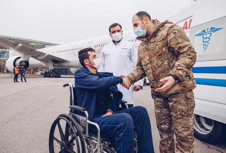 Seriously injured veterans in Patriotic War – Isayev Valeh Mehrac oglu, Hamidov Maharram Aliashraf oglu, and Rasulov Elshad Almurad oglu were sent to Turkey by Yashat Fund in the morning hours today.
