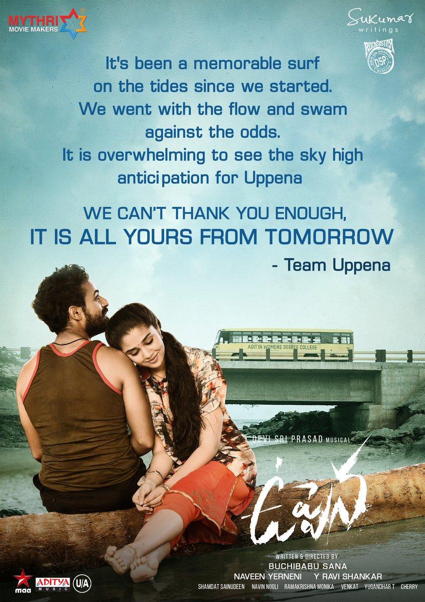 Come fall in Love with Aasi & Bebamma from tomorrow ❤️  Book your tickets now 👉   #UppenaFromTomorrow #Uppena   #PanjaVaisshnavTej @VijaySethuOffl @IamKrithiShetty @BuchiBabuSana @aryasukku @ThisIsDSP @SukumarWritings @adityamusic