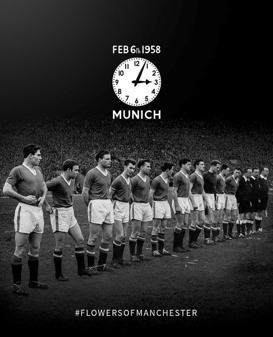 The 63rd anniversary of the Munich air disaster. Our deepest thoughts to manchesterunited and all those affected by the Munich air disaster🥀 - (📸 : manchesterunited) - #FanaPlus #BeAPlus #manchesterunited #manutd #flowersofmanchester #condolences #munich #england