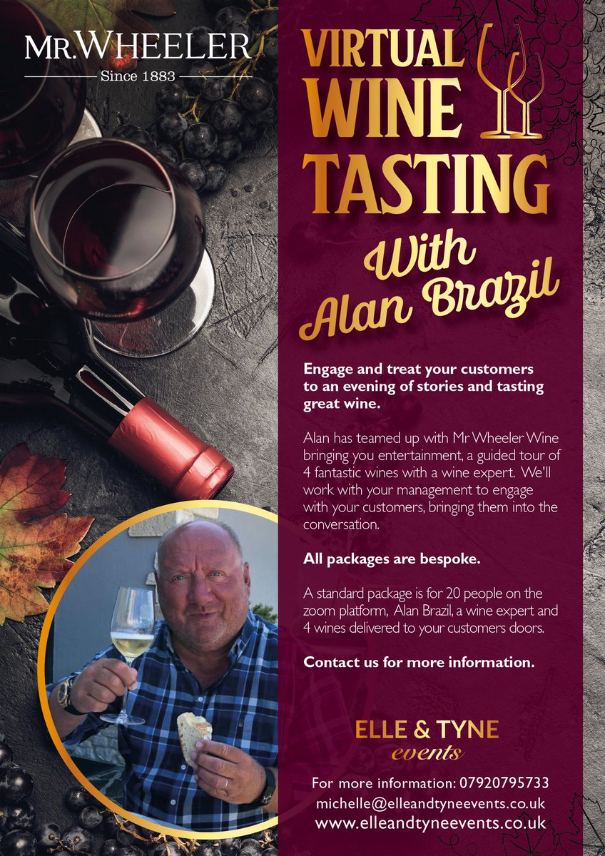 Morning guys, enjoyed the show today! Just a quick one, if your business has customers that you want to entertain I've teamed up with @mrwheelerwine for virtual wine tastings. Contact us if interested, details below👍 😁😁🍷🍷🥂🥂🍾🍾