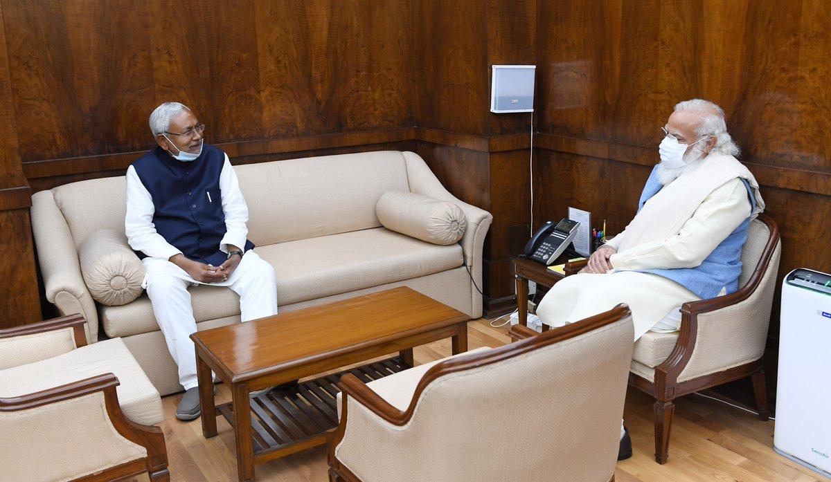 Bihar CM Shri @NitishKumar Ji called on PM @narendramodi.