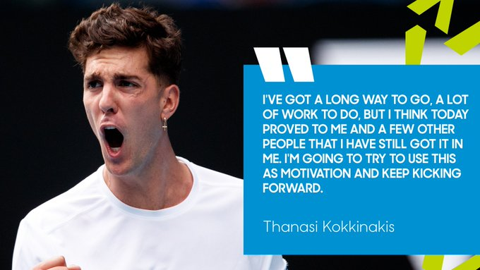 Kokkinakis made a successful return to the #AusOpen