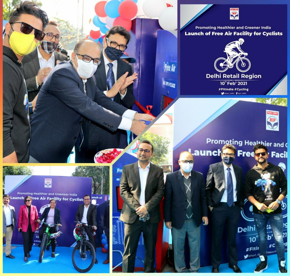 Air Facility for #Cyclists at 14 Retail Outlets of @HPCL in #NewDelhi launched by @ImRaina. A unique initiative to promote a #HealthyIndia #CleanIndia &  #GreenIndia
