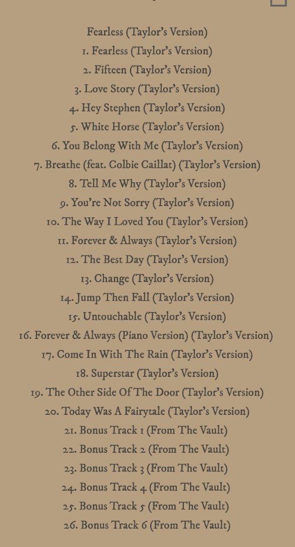 tracklist do álbum fearless taylors version, com 26 faixas, incluindo as canções originais do disco fearless, suas extras (deluxe) e seis canções inéditas, ainda sem nome divulgado