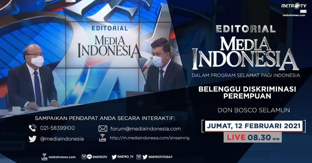#EditorialMediaIndonesia hari Jumat (12/2) LIVE pukul 08.30 WIB dalam program #SPIMetroTV akan membahas soal mempromosikan pernikahan dini sebagai kejahatan terhadap anak & perempuan, bersama pembedah Don Bosco Selamun. @mediaindonesia