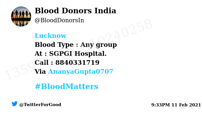 #Lucknow Need #Blood Type :  Any group At : SGPGI Hospital.  Blood Component : Blood Number of Units : 1 Primary Number : 8840331719 Via: @AnanyaGupta0707 #BloodMatters Powered by Twitter