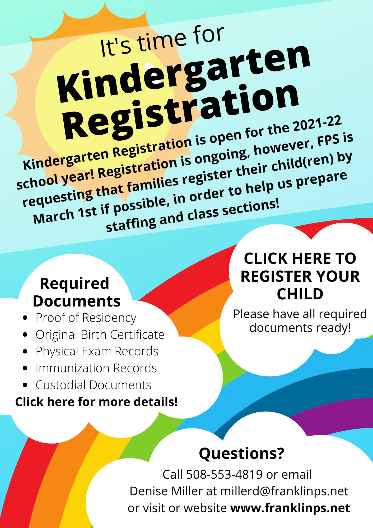 Franklin Public Schools, MA: Kindergarten registration is open