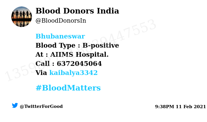 #Bhubaneswar Need #Blood Type :  B-positive At : AIIMS Hospital.  Blood Component : Blood Number of Units : 3 Primary Number : 6372045064  Via: @kaibalya3342 #BloodMatters Powered by Twitter