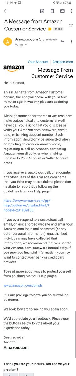 """Got a call today from """"Amazon"""" asking me to authorize a purchase on my account. I called Amazon and verified that this is a scam! @Amazon will never contact you this way about your account, they asked me to share this so people are aware. Stay safe out there!"""
