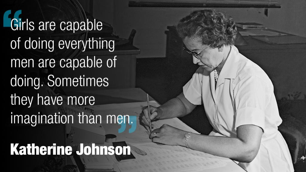 Quote from Katherine Johnson: Girls are capable of doing everything men are capable of doing. Sometimes they have more imagination than men.