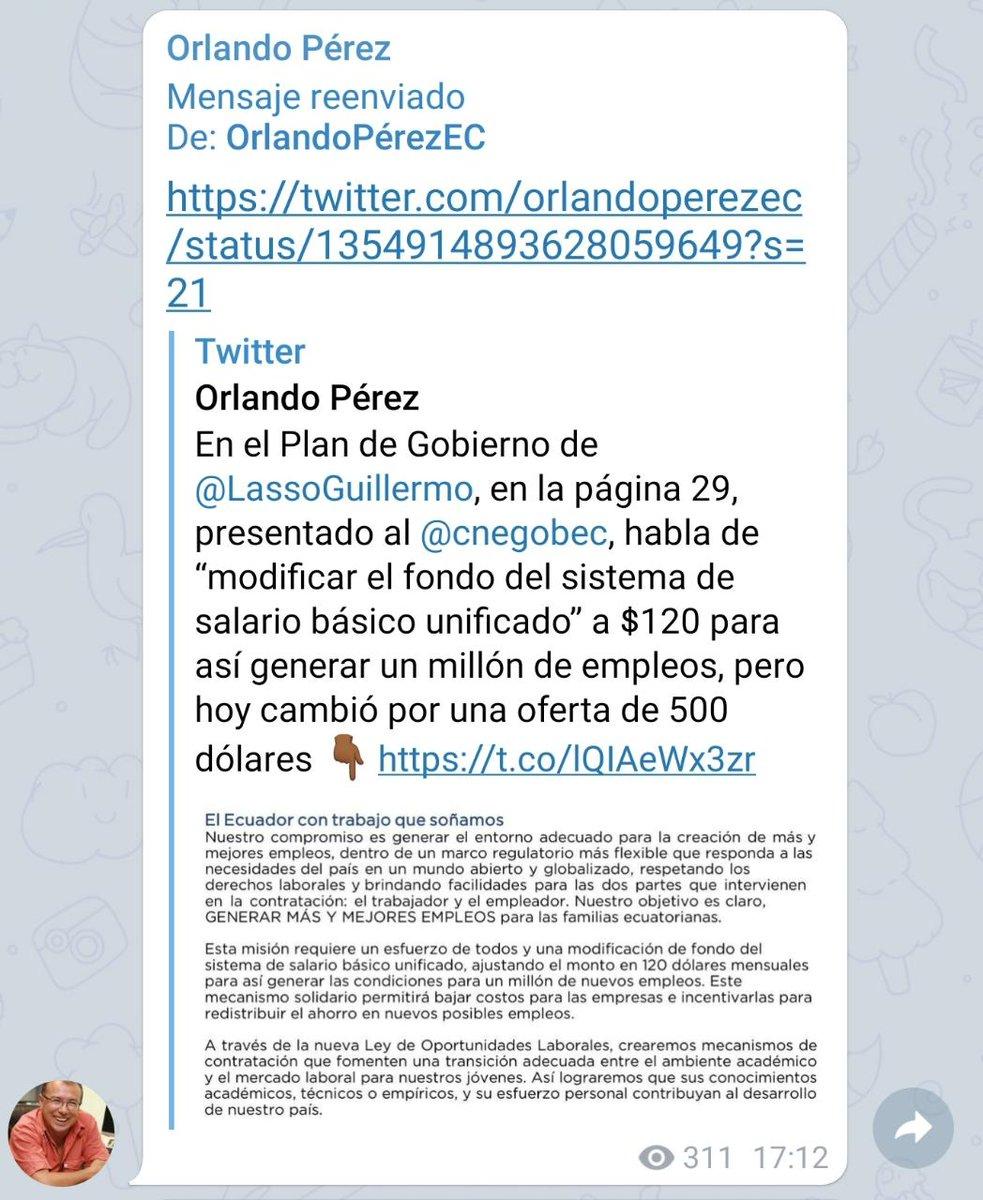 #Elecciones2021Ec | A través de redes sociales, el correísmo comparte un documento falsificado en el cual se afirma que @LassoGuillermo reducirá el SBU a $120.  El activista @OrlandoPerezEC es su principal difusor. Aquí los detalles.👇