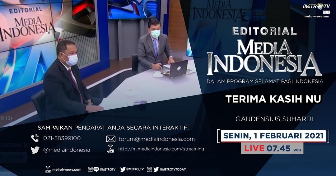 #EditorialMediaIndonesia hari Senin (1/2) LIVE pukul 07.45 WIB dalam program #SPIMetroTV akan membahas soal milad ke-96 Nahdlatul Ulama, bersama pembedah Gaudensius Suhardi di @metrotv.  #nahdlatulutama #nu #miladnahdlatulutama #miladnu #mediaindonesia #metrotv