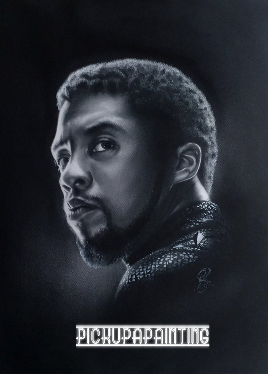 New @ in a hat competition win this original painting of the late #ChadwickBoseman  £5 per @ and u can have your @ many times as u like  50% of money raised goes to cancer research  Dm me for details  @ChrisEvans @TomHolland1996 @zoesaldana @RobertDowneyJr @prattprattpratt