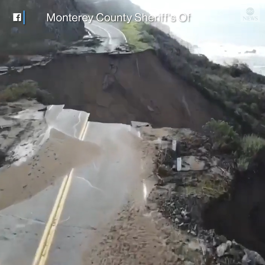 WASHED AWAY: California's scenic Highway 1 is closed near Big Sur after a section of the roadway collapsed when the cliffside below gave way amid torrential rain.  Fire officials said there was no estimate when the key coastal route might reopen.