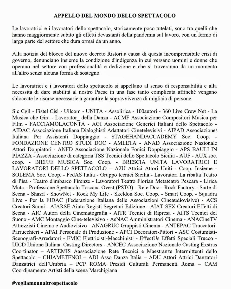L'appello di U.N.I.T.A sui social #VogliamoUnAltroSpettacolo   L'appello di UNITA