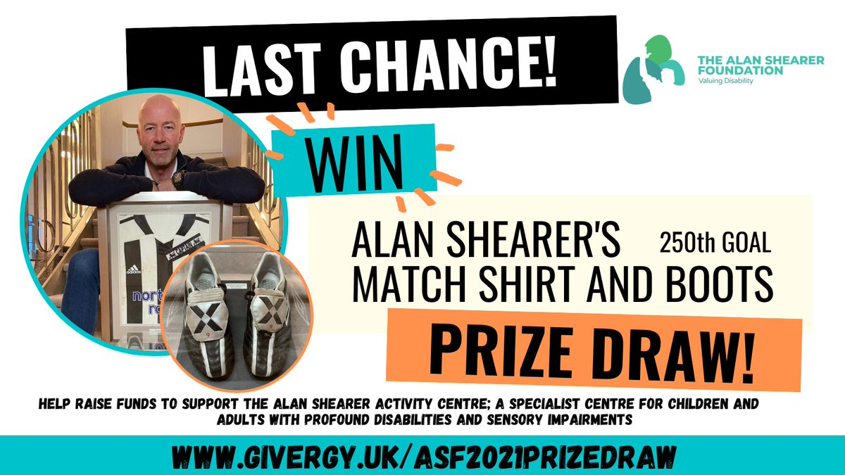 Let's get ready to rumble!  Last chance to enter our prize draw!  The draw closes at 8am tomorrow and could be your only opportunity to be the owner of Alan Shearer's shirt, boots and arm band.  Click here to support us: