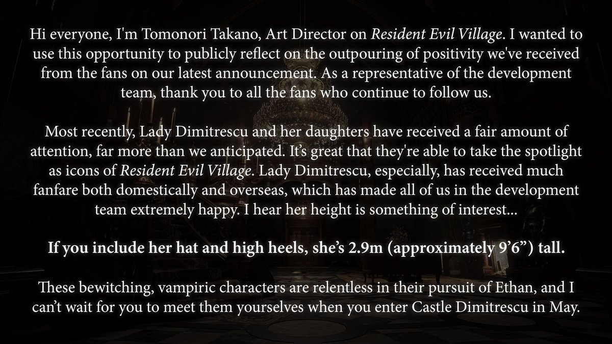 Your love for Lady Dimitrescu is loud and clear. 👒  Here's a message from our RE Village art director Tomonori Takano, along with a very curious fact you may have wondered about: