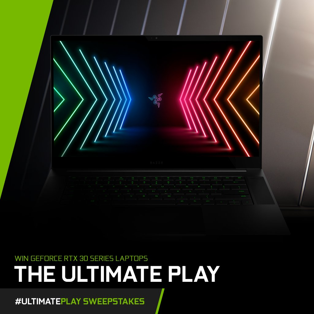 Today's #UltimatePlay Laptop Spotlight: The @Razer Blade 15   Key Features:   ⚪ NVIDIA GeForce RTX 30 Series GPU ⚪ Ultra Fast 15-inch Display ⚪ Durable Aluminum Chassis   Want your chance to win this laptop?  RT + Comment #UltimatePlay in the replies!